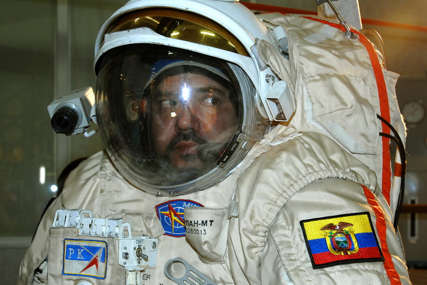 Ronnie Nader clad in the Orlan-M EVA space suit